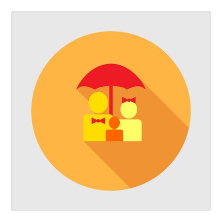 familia unida: Icono de familiares siluetas bajo el paraguas Vectores