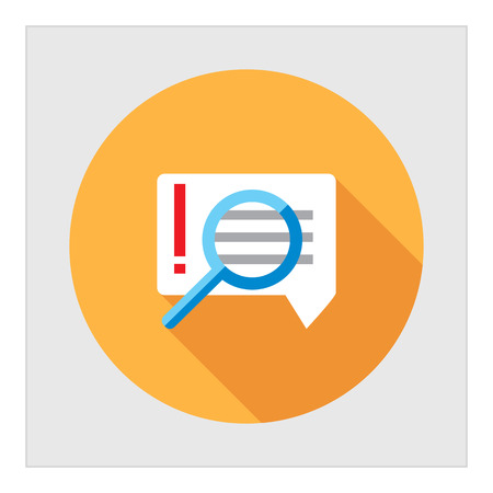 speech icon: Icon of magnifying glass on important message with exclamation mark in speech bubble