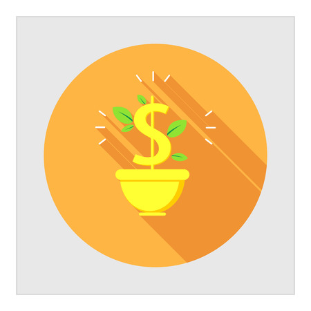 bank money: Icon of dollar sign with leaves in flower pot Illustration