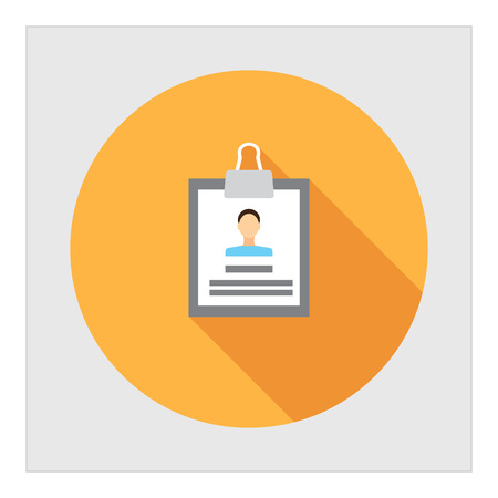 Icon of personal file with photo on clipboard Illustration
