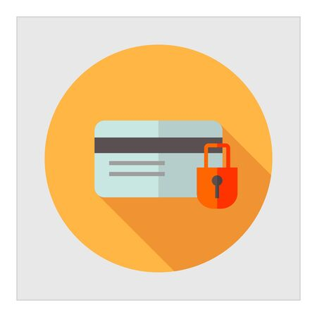 password protection: Icon of credit card and padlock Illustration
