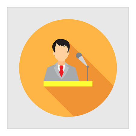 conference speaker: Icon of businessman at speakers stand with microphone Illustration