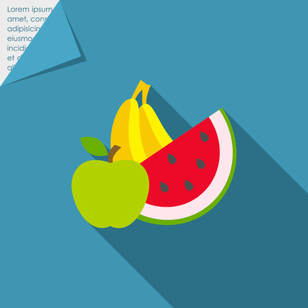 apple slice: Icon of apple, banana and water melon slice
