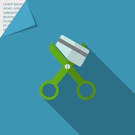 scissors cutting: Icon of scissors cutting credit card