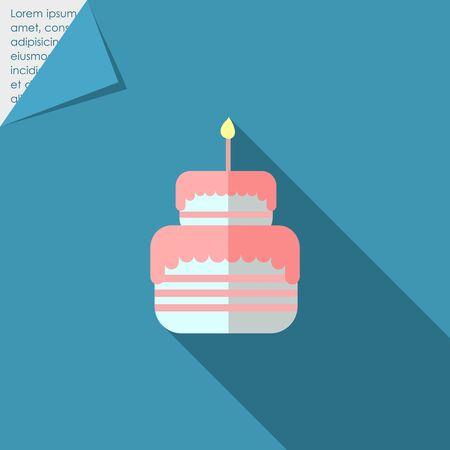 burning candle: Icon of birthday cake with burning candle Illustration
