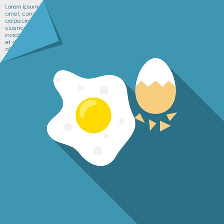 eggshell: Icon of fried egg and boiled egg with half-peeled eggshell