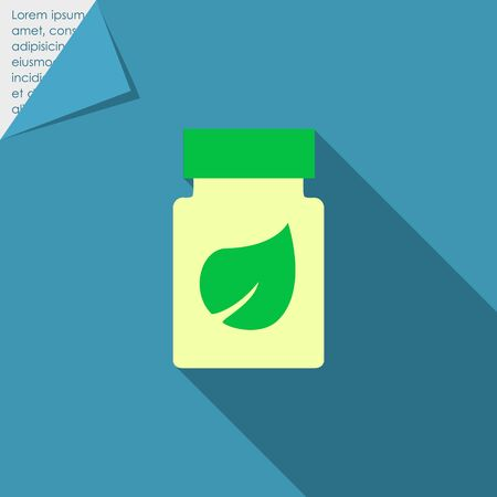 rational: Icon of dietary supplement bottle with leaf picture