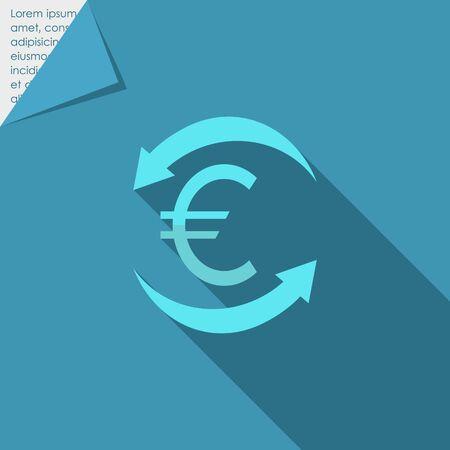 euro teken: Icoon van euro teken in de cirkel van pijlen