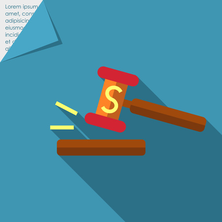 auctioneer: Icon of gavel with S letter Illustration