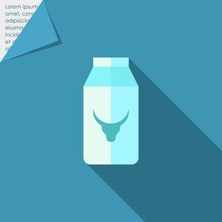 milk carton: Icon of milk carton with cow head picture