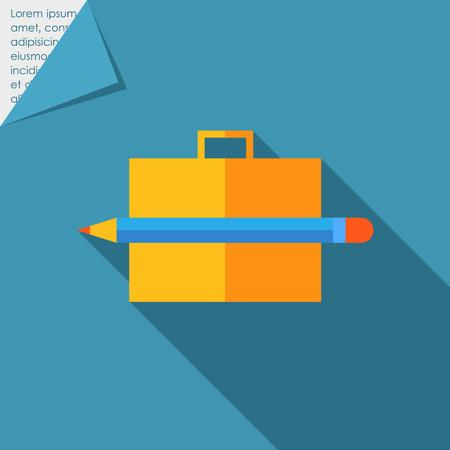pencil case: Icon of brief case and pencil Illustration