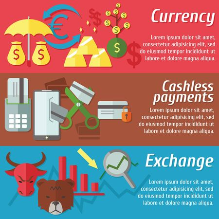 cashless: Set of flat design concepts of  money, currency, cashless payment and stock exchange on colored background