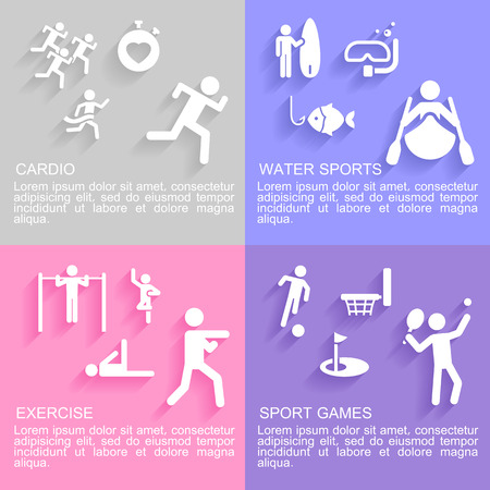 cardio workout: Set of flat design concepts of sport activities, including, cardio workout, exercising, water sport and sport games on colored background