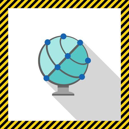 meridiano: Icono de globo terráqueo esquemática Vectores