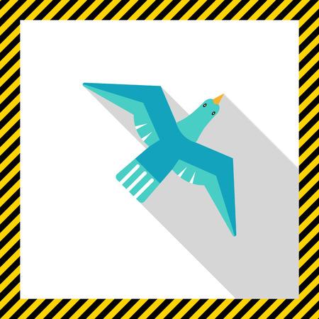 tweeting: Icon of flying blue bird Illustration