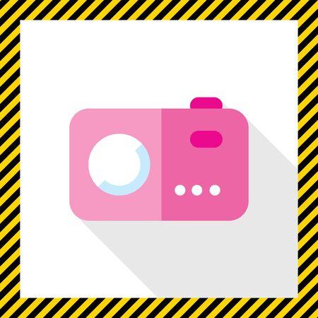 photocamera: Icon of pink photocamera Illustration
