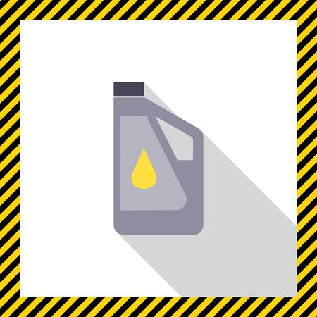 engine oil: Icon of plastic bottle of engine oil with oil drop picture on label Illustration