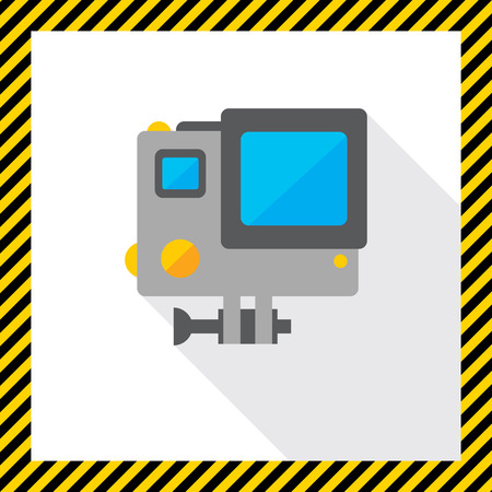 traffic violation: Icon of traffic speed camera in orange circle Illustration