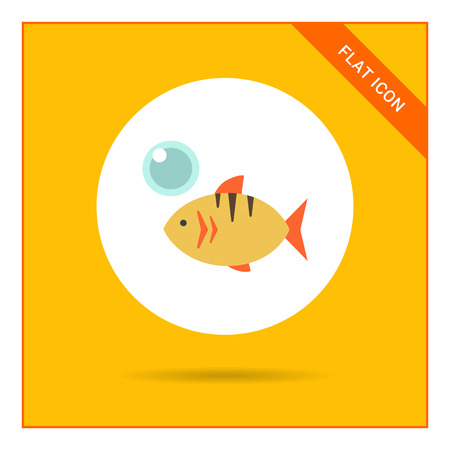 air bubble: Icon of fish and air bubble