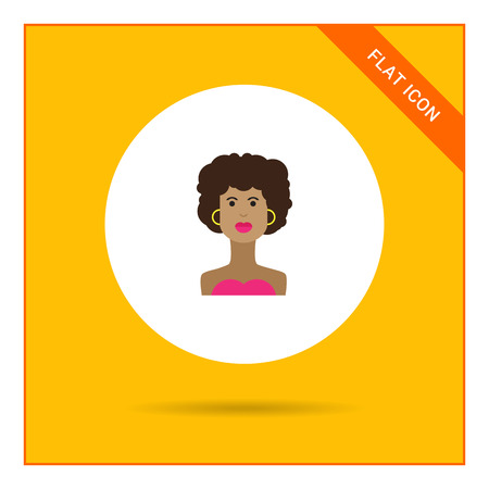 african american woman: Female character icon, portrait of young African American  woman
