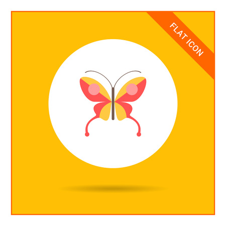 red butterfly: Red butterfly icon Illustration