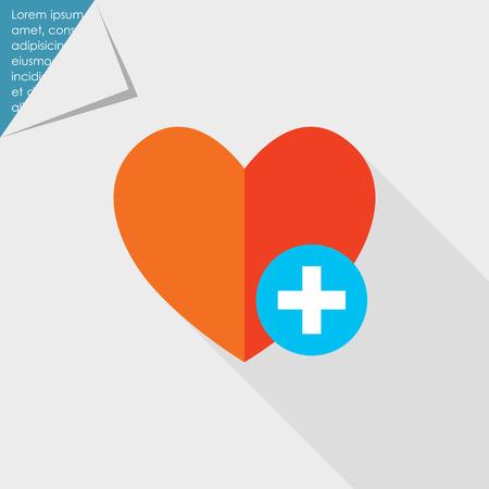 favoritos: Icono de coraz�n rojo con el signo m�s representa de icono A�adir a favoritos Vectores