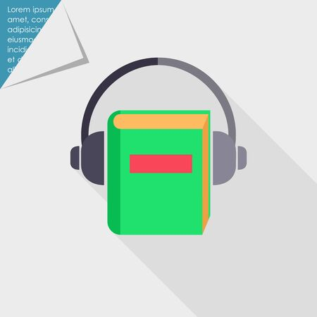 electronic music: Icon of book with headphones Illustration