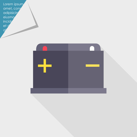 ampere: Icon of car battery with plus and minus signs