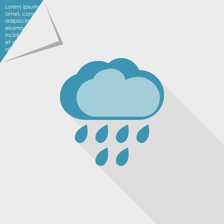 heavy rain: Icon of clouds and falling raindrops