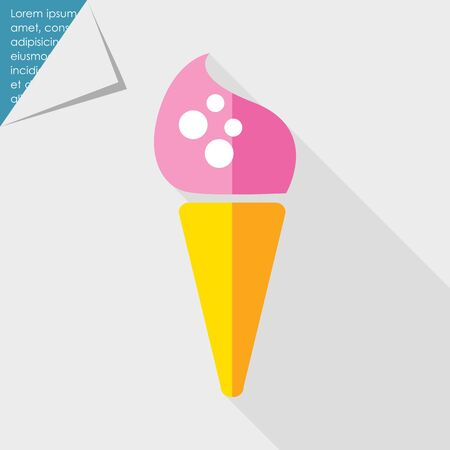 waffle: Icon of pink ice cream in waffle cone Illustration