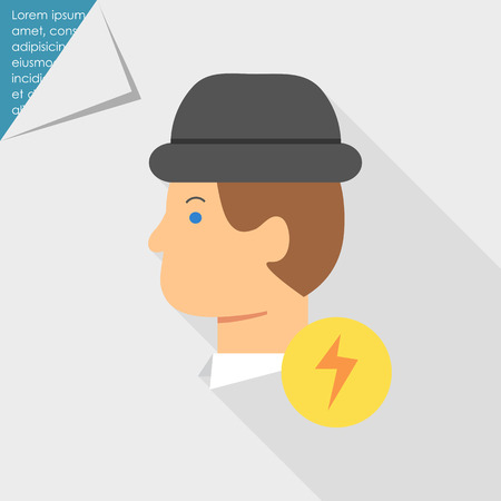 smart man: Icon of man in hat and lightning sign