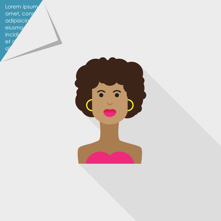 african american: Female character icon, portrait of young African American  woman