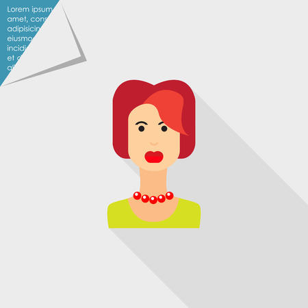 redheaded: Mujer icono de car�cter, retrato de mujer joven pelirroja Vectores