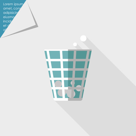 discard: Icon of wastepaper bin with crumpled paper  balls Illustration