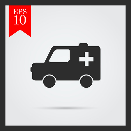 aiding: Set of icons with ambulance car, with text on green ribbon
