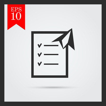 Icon Of Checklist And Paper Plane Royalty Free Cliparts Vectors