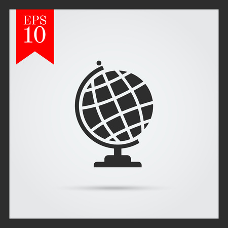six objects: Set of icons with Earth globe , with text on green ribbon