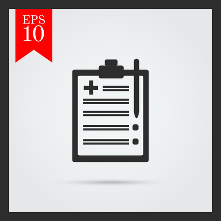 medical report: Set of icons with medical report on clipboard, with text on green ribbon