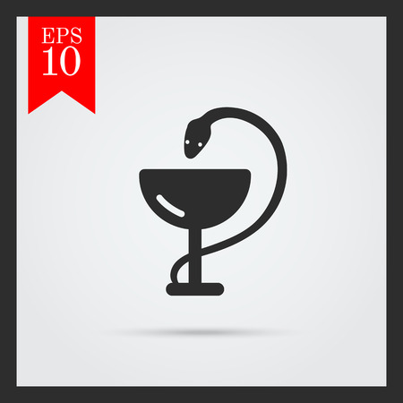 toxic substance: Set of icons with medical snake and cup, with text on green ribbon