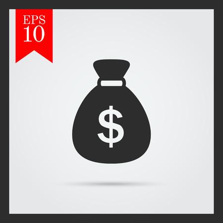 sack: Icon of money sack with dollar sign Illustration