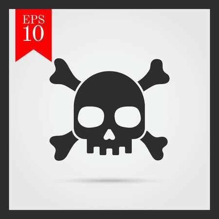 six objects: Set of icons with skull and crossbones, with text on green ribbon Illustration