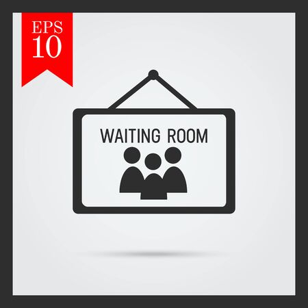 six objects: Set of icons with waiting room sign, with text on green ribbon