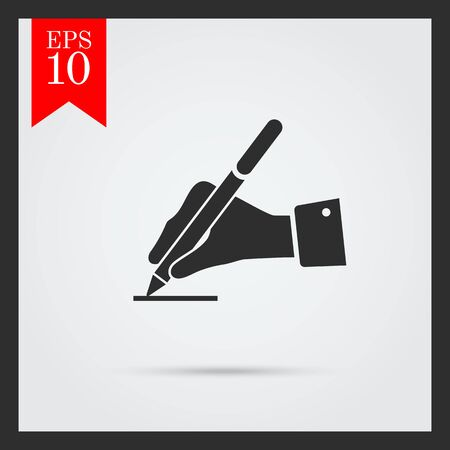 pen icon: Icon of mans hand writing with pen