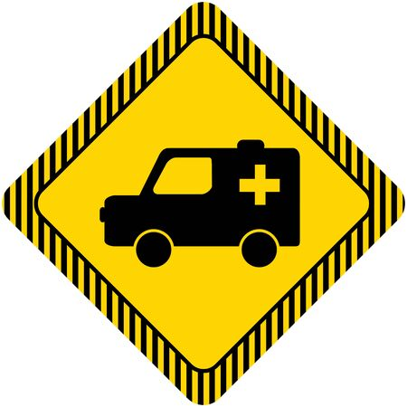 six objects: Set of icons with ambulance car, with text on green ribbon