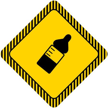 maternal: Icon of baby bottle with nipple and scale