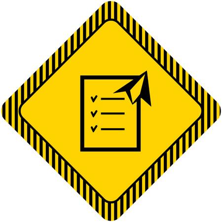 paper plane: Icon of checklist and paper plane Illustration