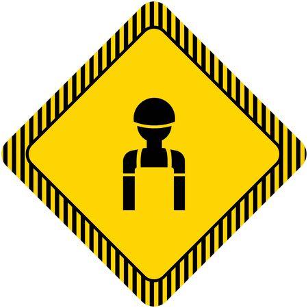 bauarbeiterhelm: Icon des Schattenbildes, das Overall und Helm des Menschen Illustration