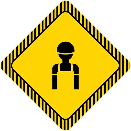 Industrial workers: Icon of mans silhouette wearing overalls and hardhat