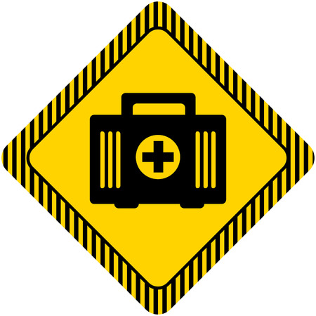 six objects: Set of icons with womans head silhouette, with text on green ribbon Set of icons with first aid kit, with text on green ribbon