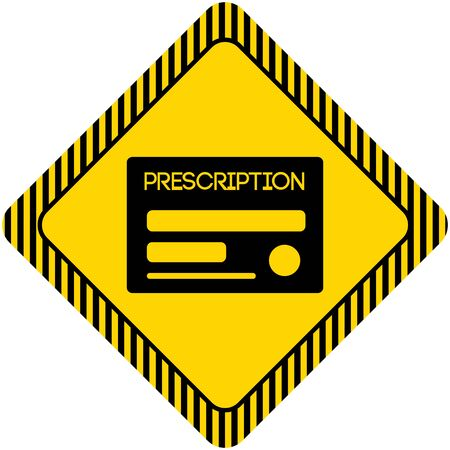 prescription: Set of icons with prescription, with text on green ribbon